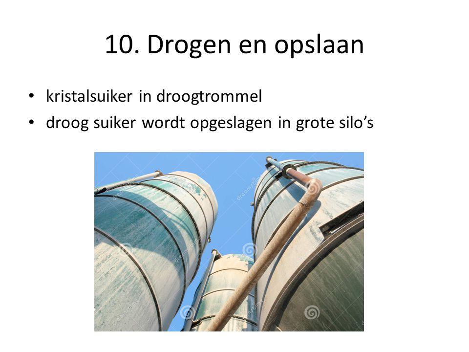 10. Drogen en opslaan kristalsuiker in droogtrommel