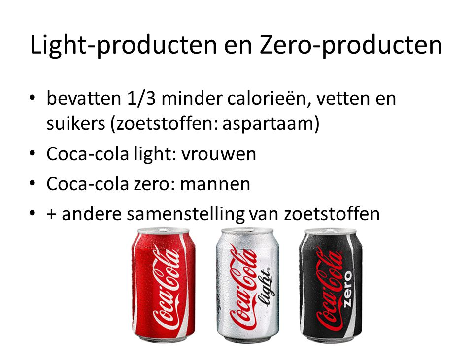 Light-producten en Zero-producten
