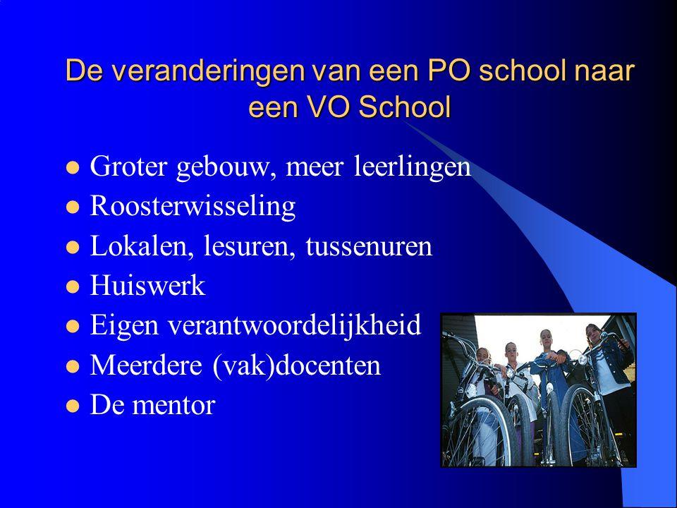 De veranderingen van een PO school naar een VO School