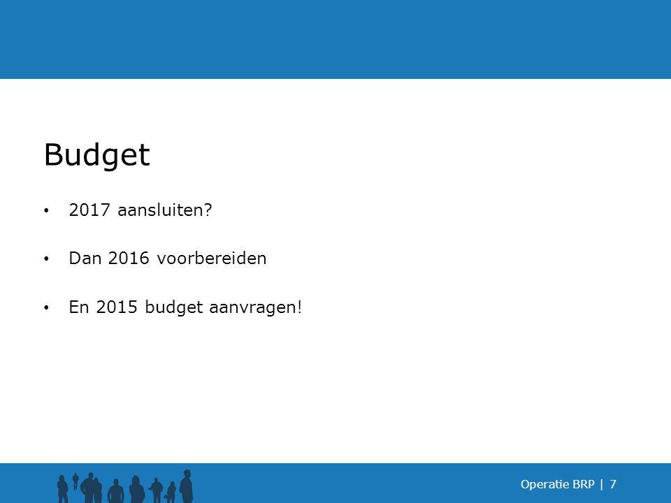 Budget 2017 aansluiten Dan 2016 voorbereiden