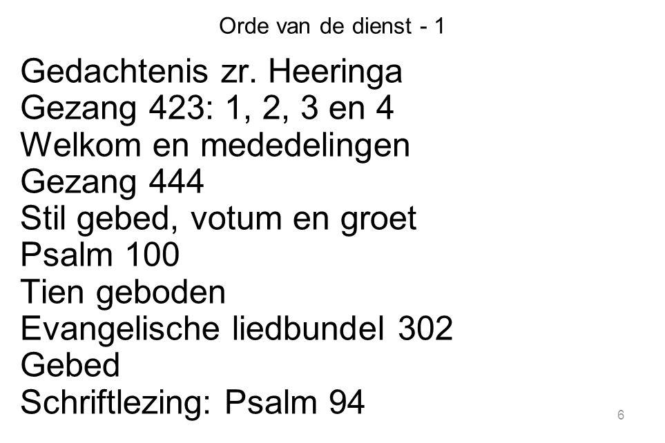 Gedachtenis zr. Heeringa Gezang 423: 1, 2, 3 en 4