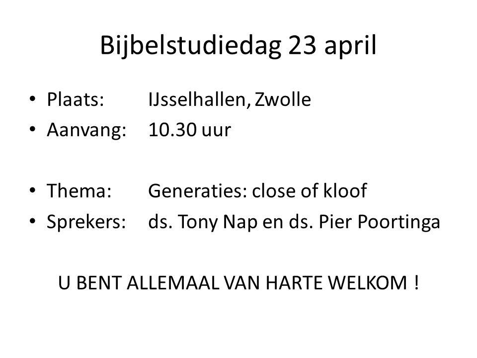Bijbelstudiedag 23 april