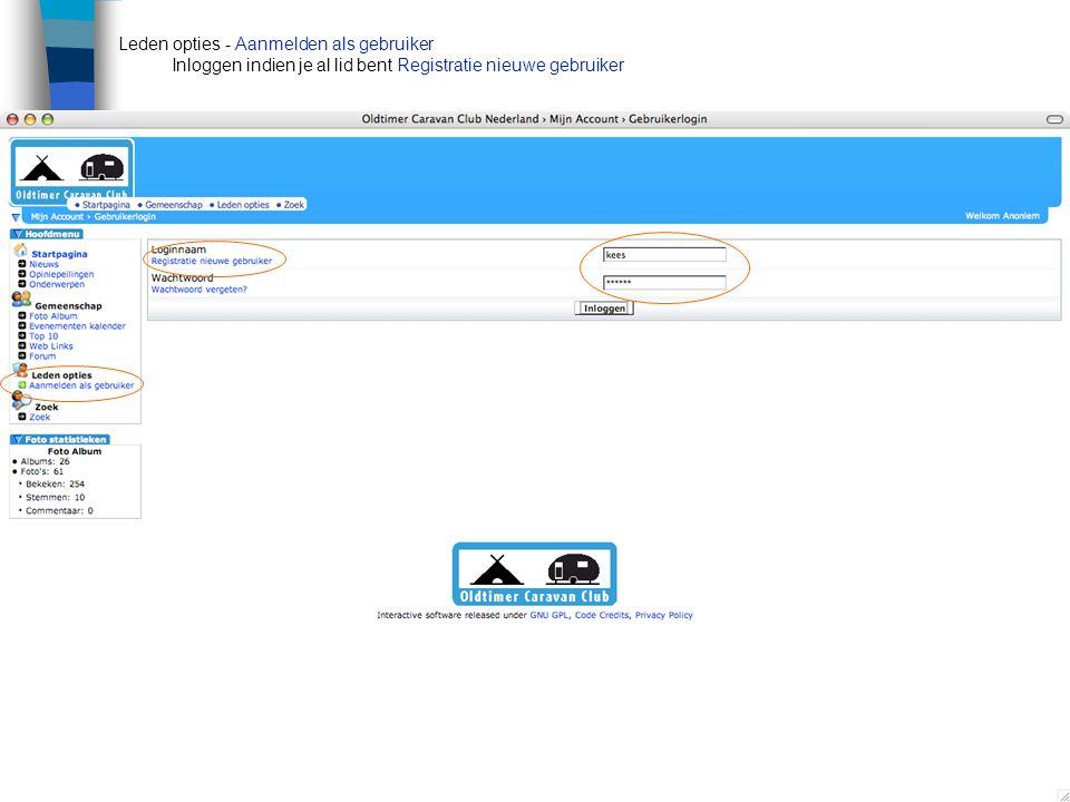 Leden opties - Aanmelden als gebruiker