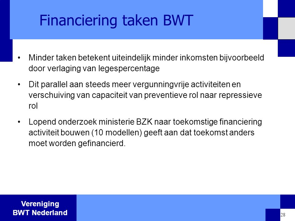 Financiering taken BWT