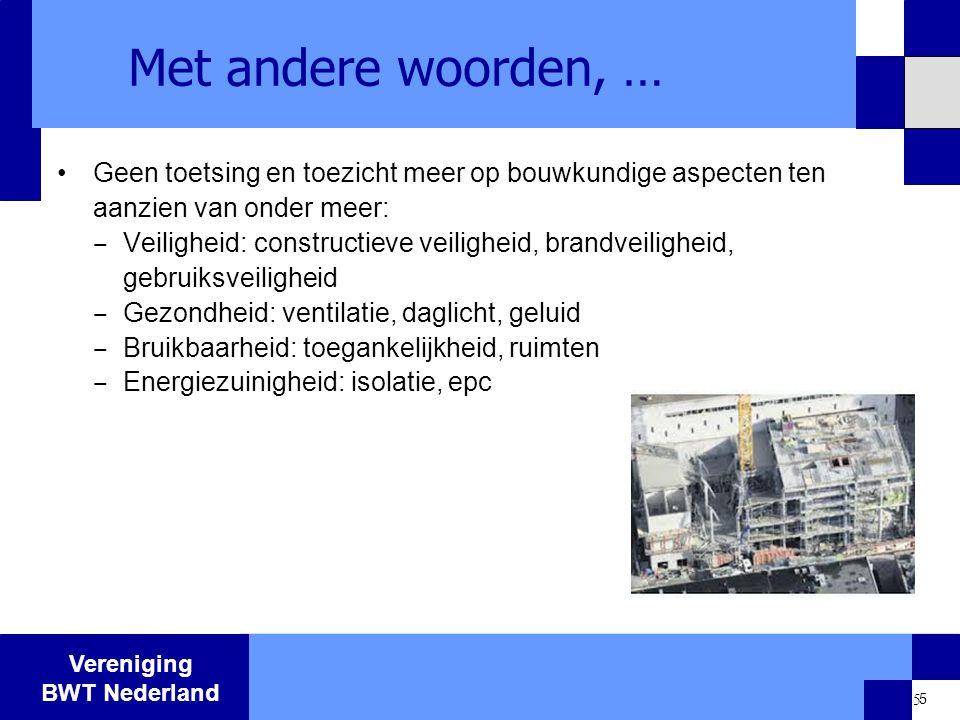 Met andere woorden, … Geen toetsing en toezicht meer op bouwkundige aspecten ten aanzien van onder meer: