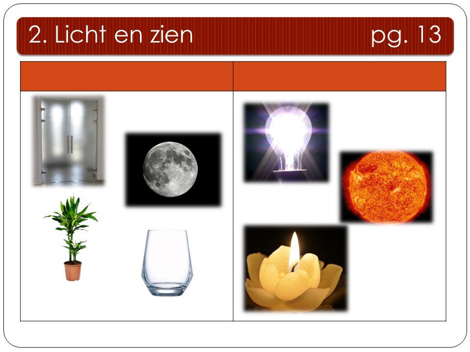 2. Licht en zien pg. 13 Donkere lichamen Lichtbronnen