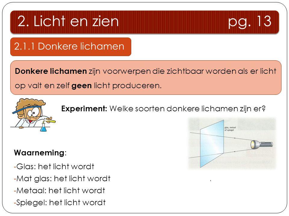 2. Licht en zien pg. 13 2.1.1 Donkere lichamen