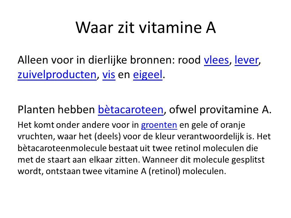 Waar zit vitamine A Alleen voor in dierlijke bronnen: rood vlees, lever, zuivelproducten, vis en eigeel.