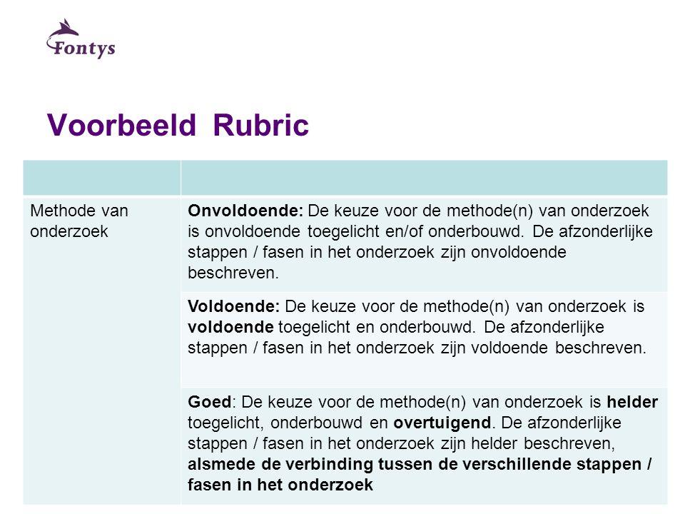 Voorbeeld Rubric Methode van onderzoek