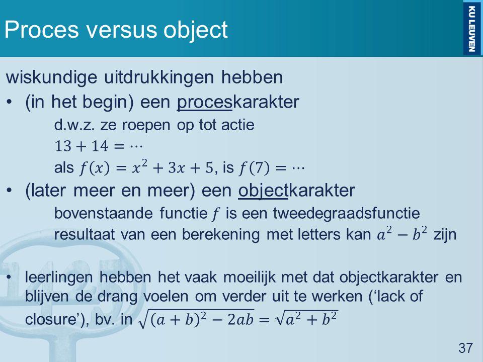 Proces versus object wiskundige uitdrukkingen hebben