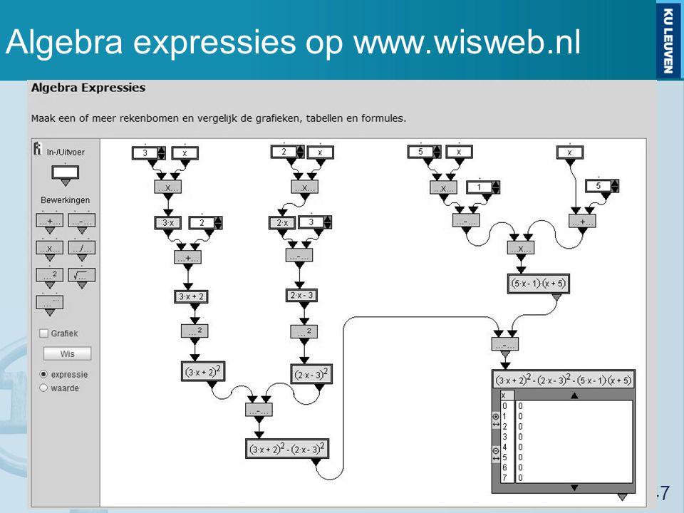 Algebra expressies op www.wisweb.nl