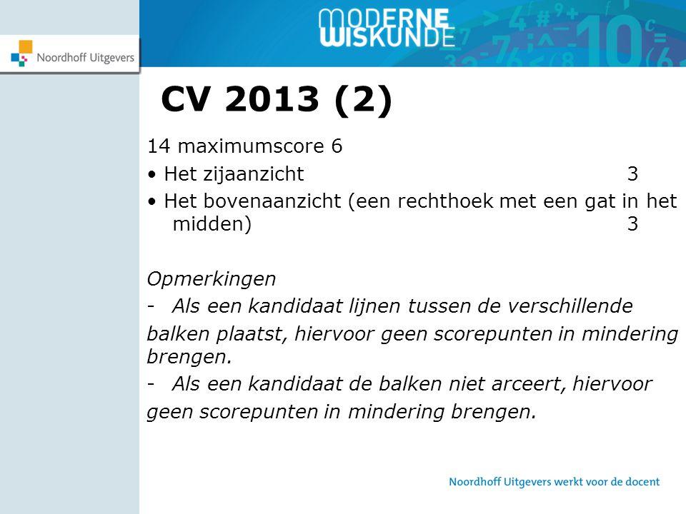 CV 2013 (2) 14 maximumscore 6 • Het zijaanzicht 3