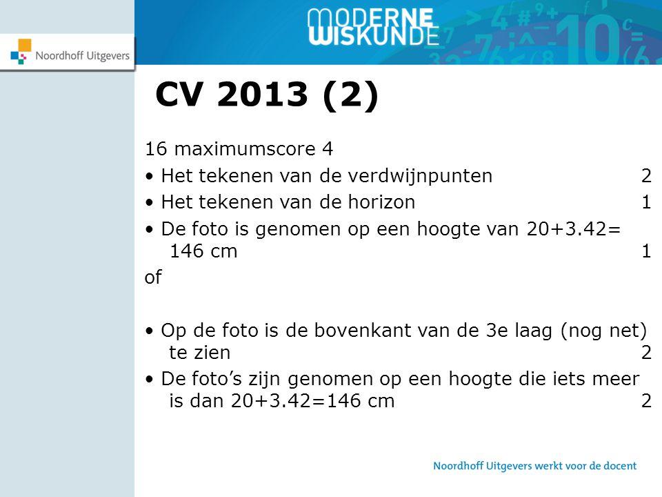 CV 2013 (2) 16 maximumscore 4 • Het tekenen van de verdwijnpunten 2