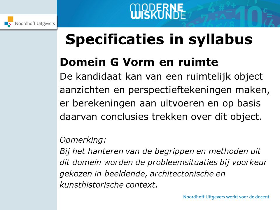 Specificaties in syllabus