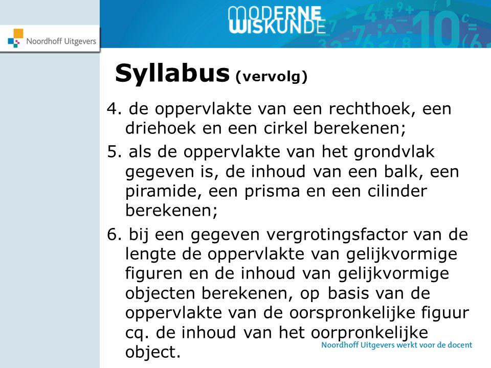 Syllabus (vervolg) 4. de oppervlakte van een rechthoek, een driehoek en een cirkel berekenen;