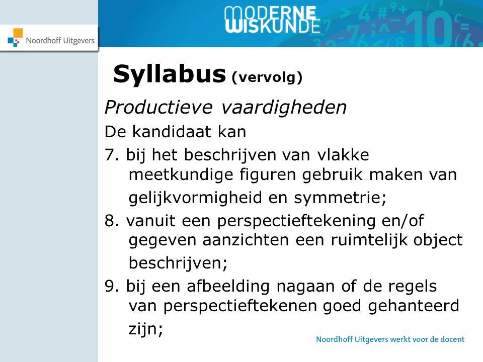 Syllabus (vervolg) Productieve vaardigheden De kandidaat kan