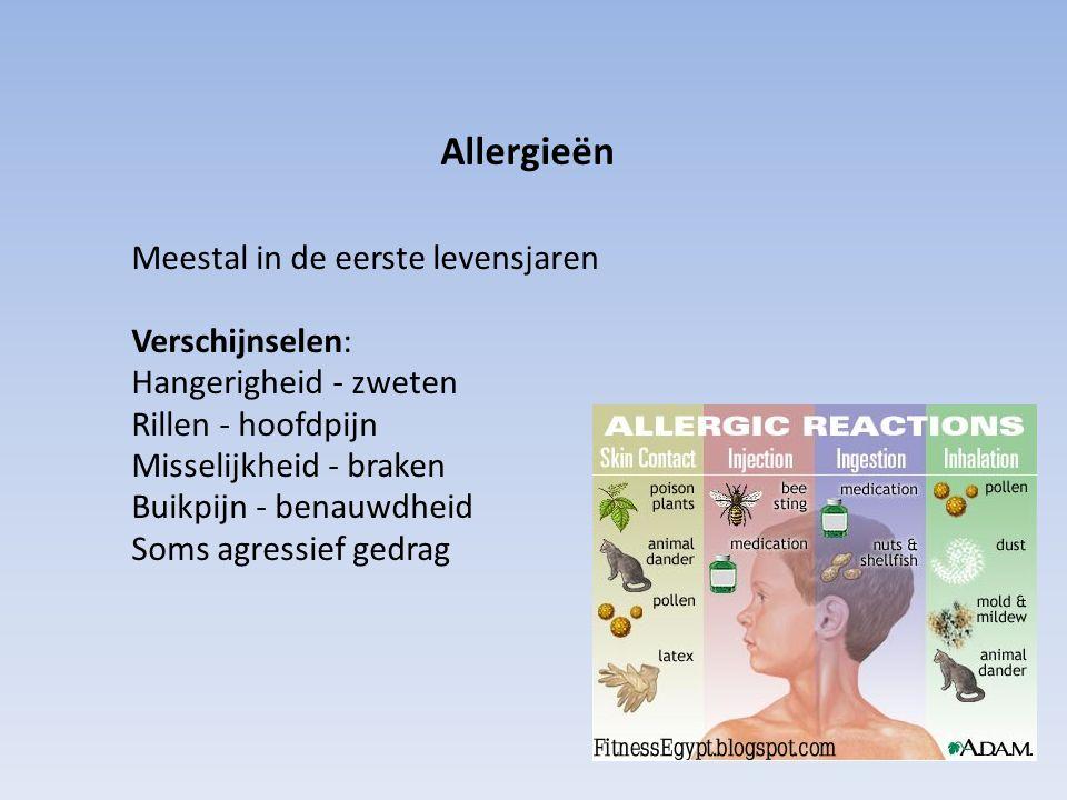 Allergieën Meestal in de eerste levensjaren Verschijnselen: