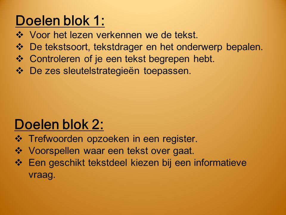 Doelen blok 1: Doelen blok 2: Voor het lezen verkennen we de tekst.