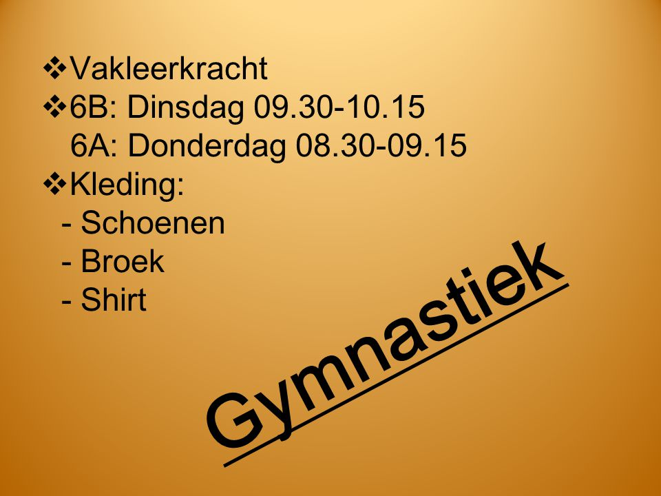Gymnastiek Vakleerkracht
