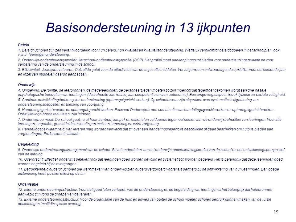 Basisondersteuning in 13 ijkpunten