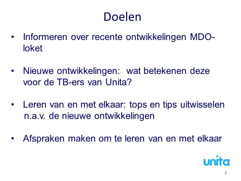 Doelen Informeren over recente ontwikkelingen MDO-loket