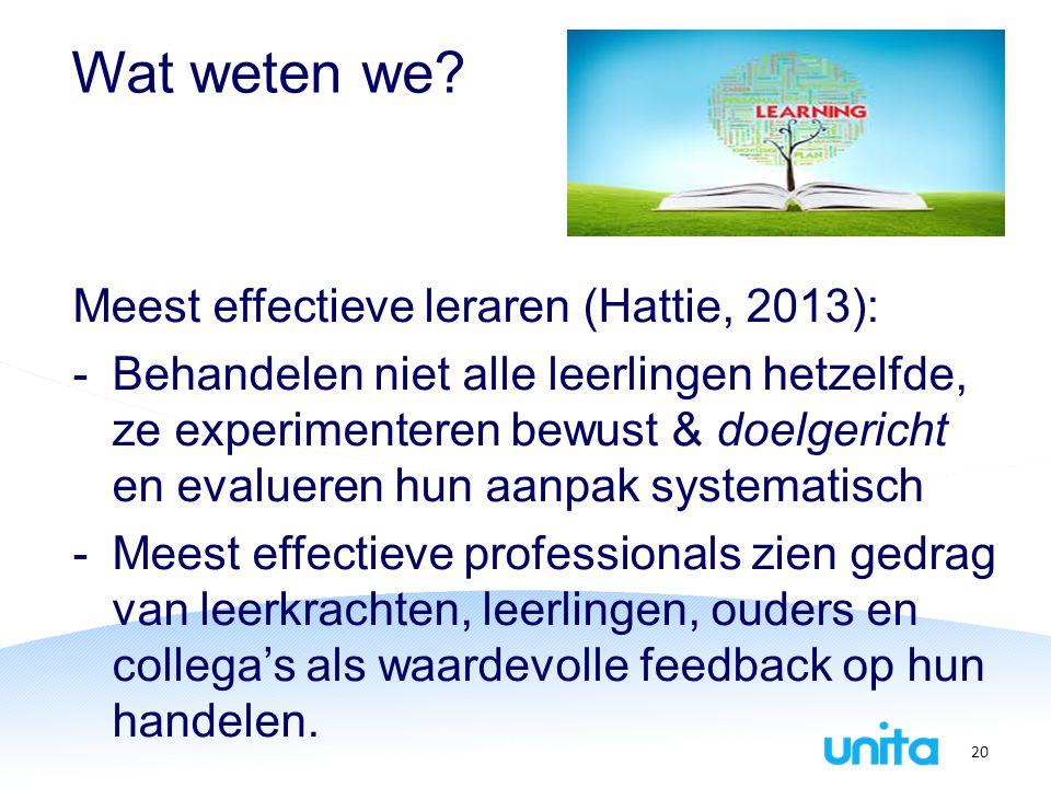 Wat weten we Meest effectieve leraren (Hattie, 2013):