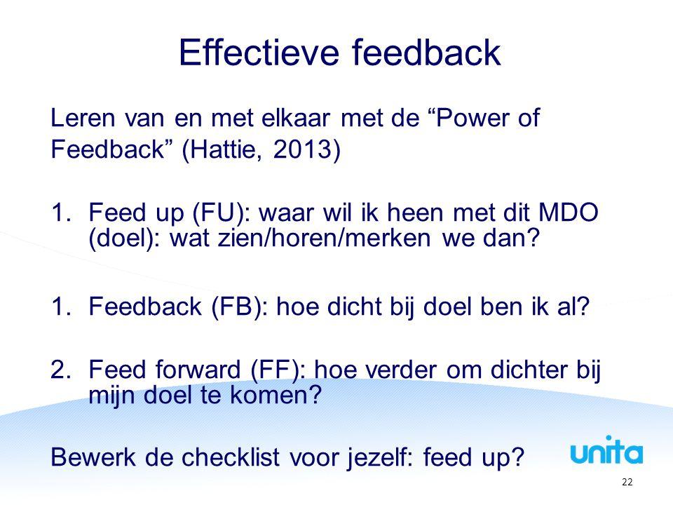 Effectieve feedback Leren van en met elkaar met de Power of