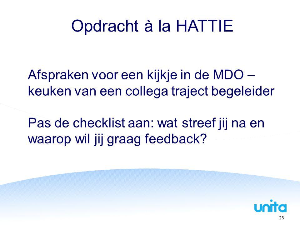 Opdracht à la HATTIE Afspraken voor een kijkje in de MDO – keuken van een collega traject begeleider.