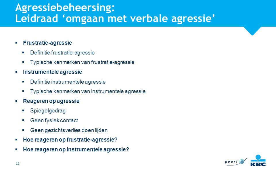 Agressiebeheersing: Leidraad 'omgaan met verbale agressie'