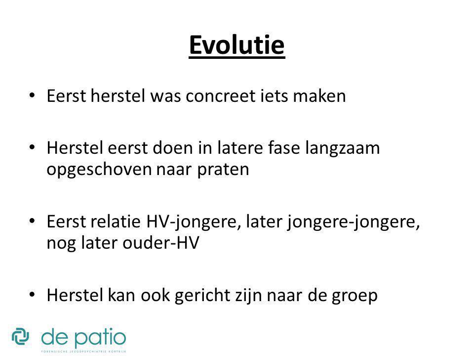 Evolutie Eerst herstel was concreet iets maken