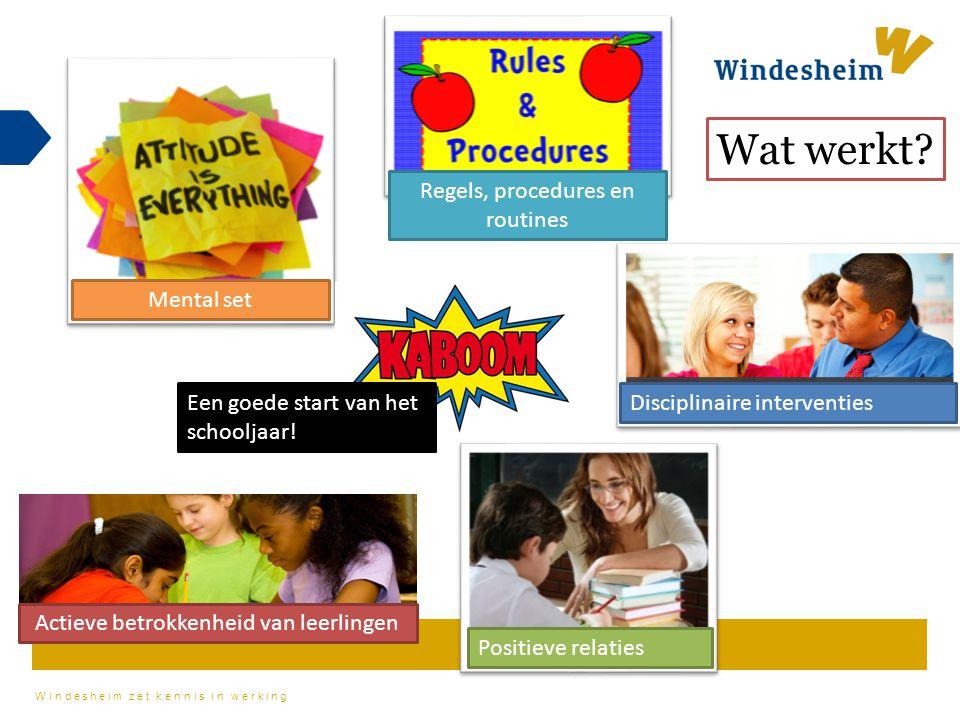 Wat werkt Regels, procedures en routines Mental set