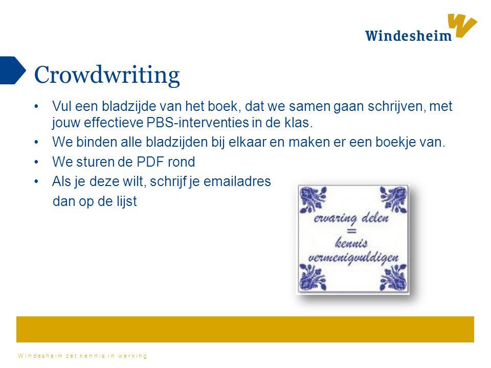 Crowdwriting Vul een bladzijde van het boek, dat we samen gaan schrijven, met jouw effectieve PBS-interventies in de klas.