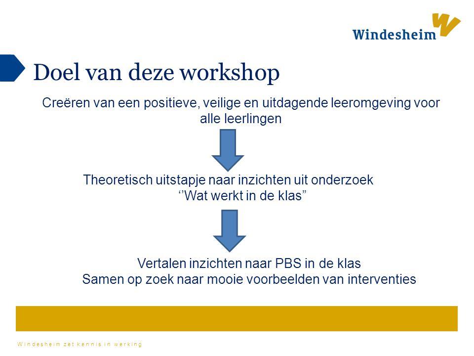 Doel van deze workshop Creëren van een positieve, veilige en uitdagende leeromgeving voor alle leerlingen.