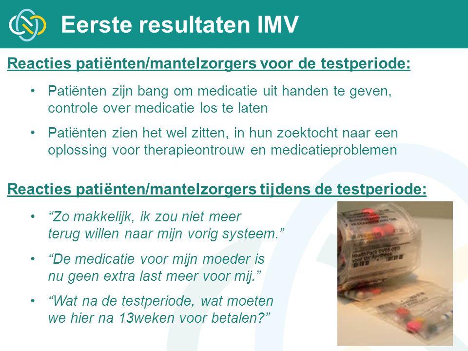 Eerste resultaten IMV Reacties patiënten/mantelzorgers voor de testperiode:
