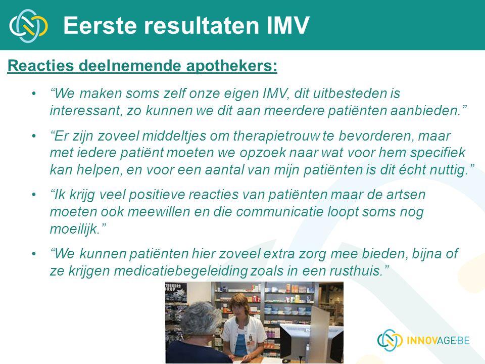 Eerste resultaten IMV Reacties deelnemende apothekers: