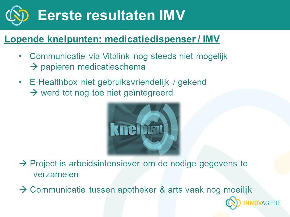 Eerste resultaten IMV Lopende knelpunten: medicatiedispenser / IMV