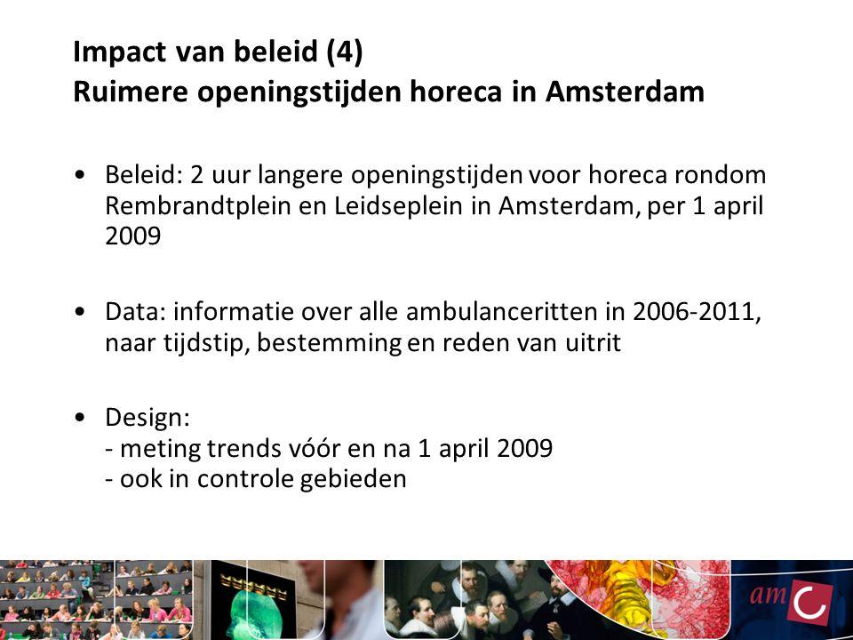 Impact van beleid (4) Ruimere openingstijden horeca in Amsterdam