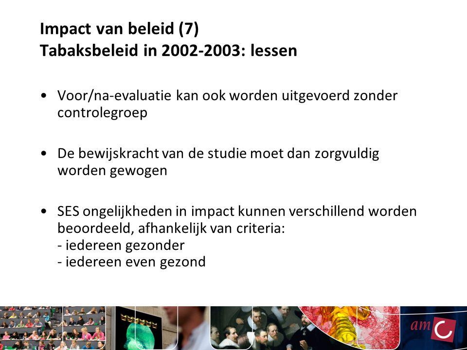 Impact van beleid (7) Tabaksbeleid in 2002-2003: lessen