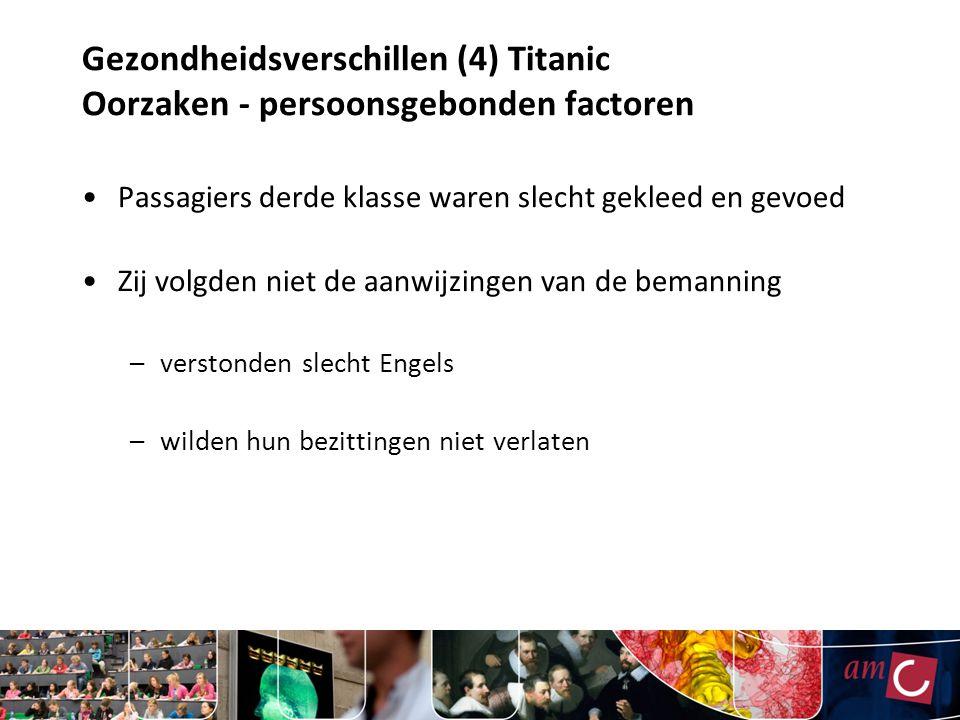 Gezondheidsverschillen (4) Titanic Oorzaken - persoonsgebonden factoren