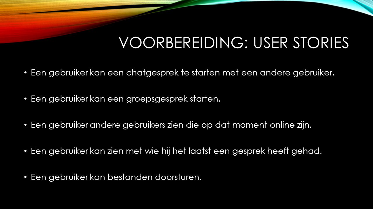 Voorbereiding: user stories