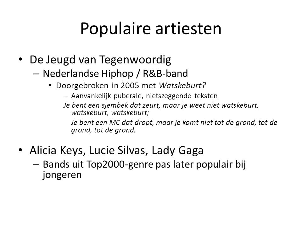 Populaire artiesten De Jeugd van Tegenwoordig