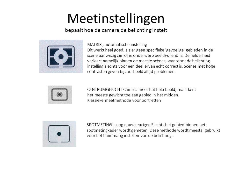 Meetinstellingen bepaalt hoe de camera de belichting instelt