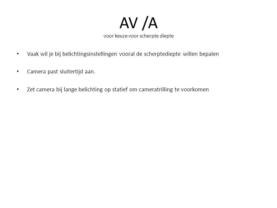 AV /A voor keuze voor scherpte diepte