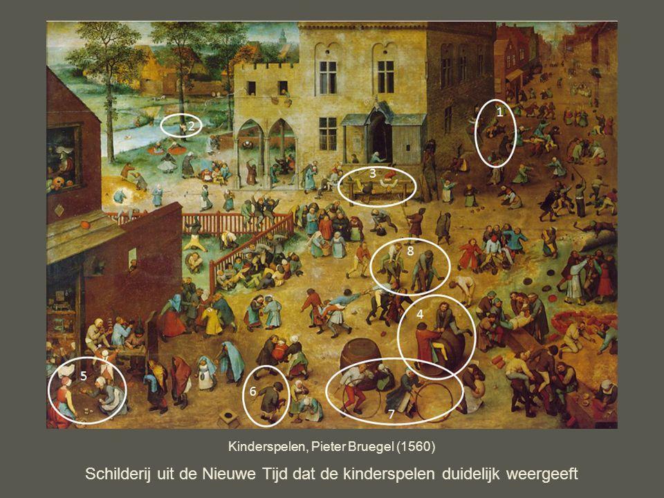 Schilderij uit de Nieuwe Tijd dat de kinderspelen duidelijk weergeeft