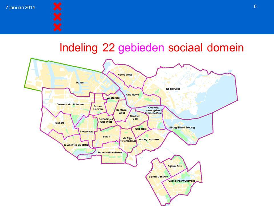 Indeling 22 gebieden sociaal domein