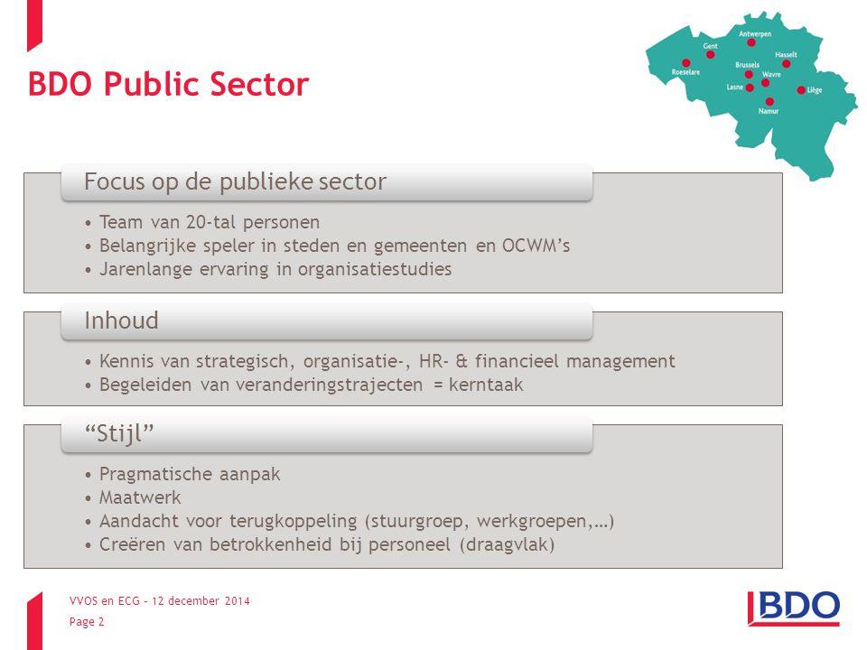 BDO Public Sector Focus op de publieke sector Inhoud Stijl