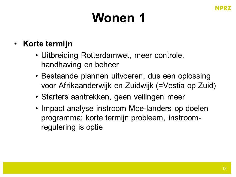 Wonen 1 Korte termijn. Uitbreiding Rotterdamwet, meer controle, handhaving en beheer.