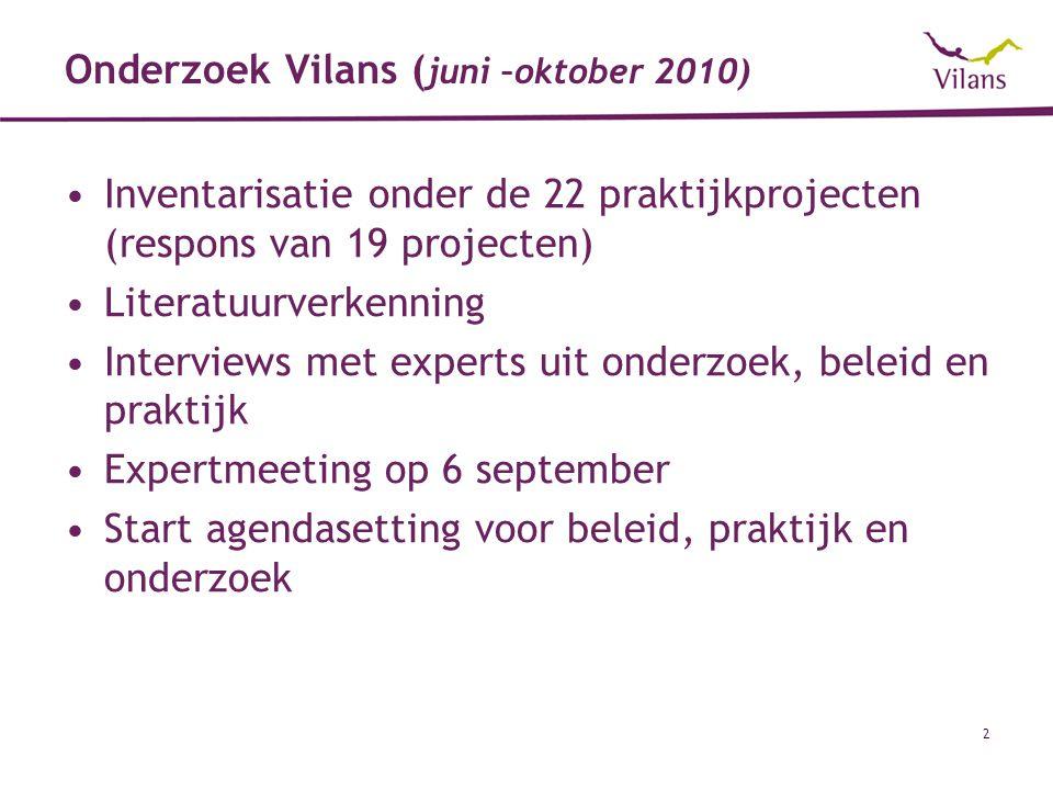 Onderzoek Vilans (juni –oktober 2010)