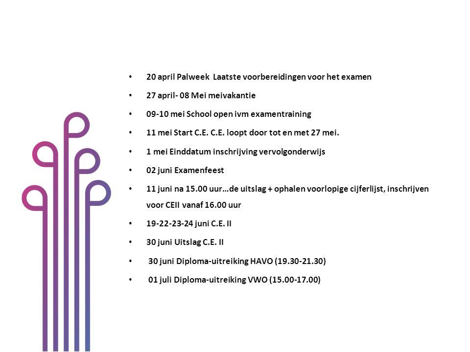 20 april Palweek Laatste voorbereidingen voor het examen