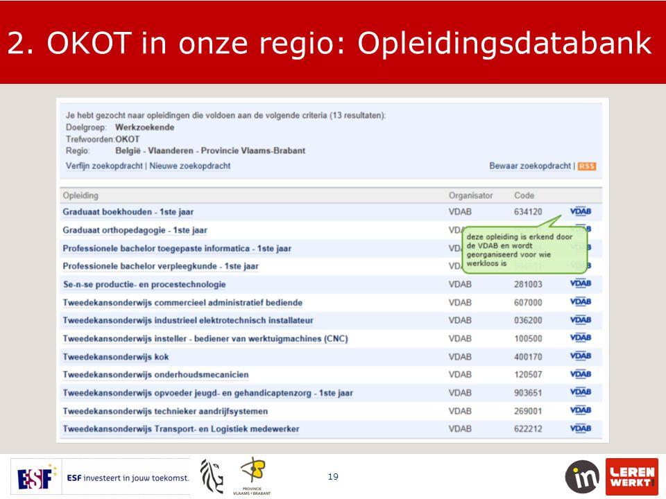 2. OKOT in onze regio: Opleidingsdatabank